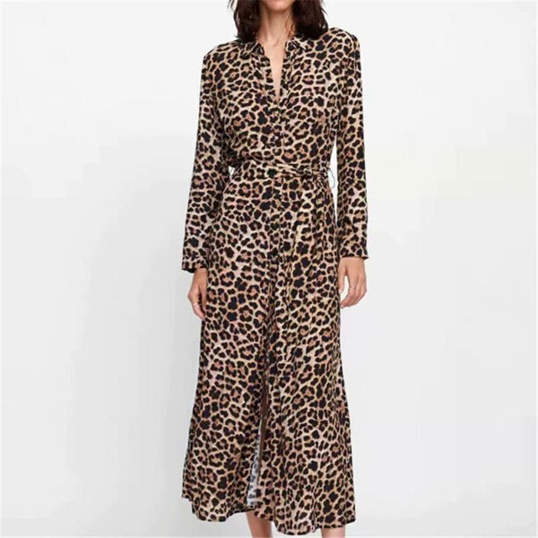 Leopard Print Wrap Dress - Split