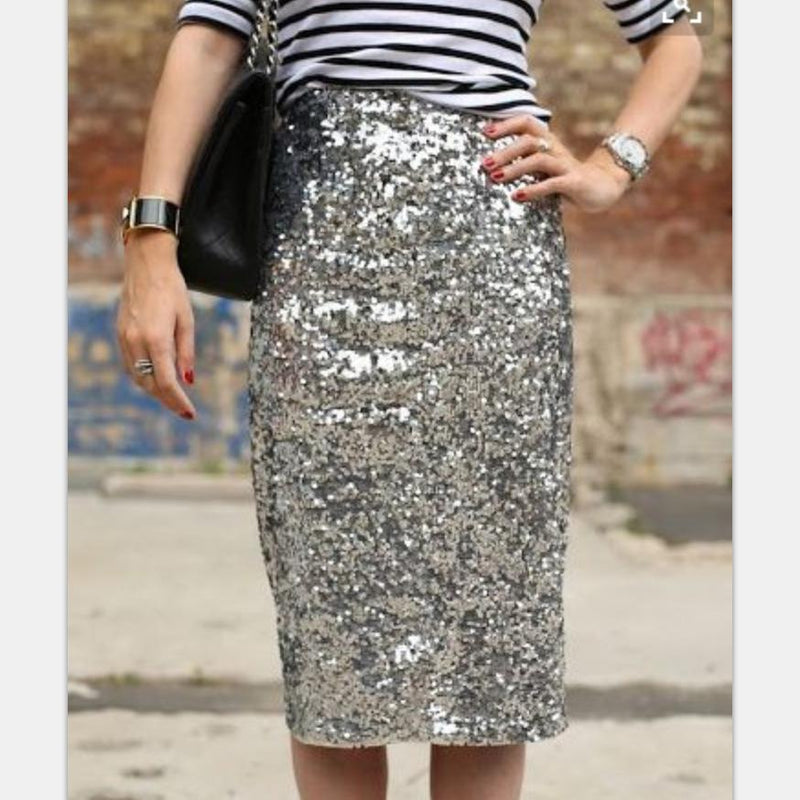 High Waist Sequin Skirt - Pencil Midi