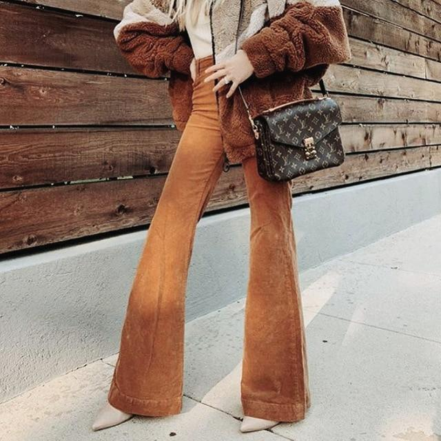 High Waist Corduroy Flare Trousers