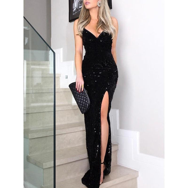 Long Black Sequin Maxi Dress With Slit