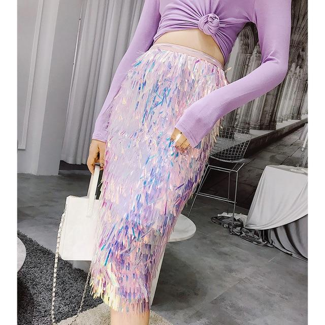Sequin Tassel Skirt - High Waist