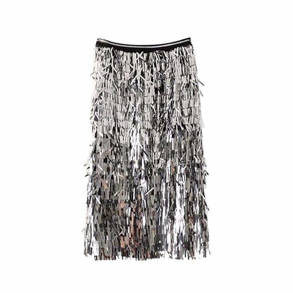 Sequin Tassel Skirt - High Waist Midi