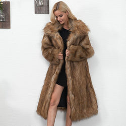Vintage Faux Fur Long Coat - Plus Size