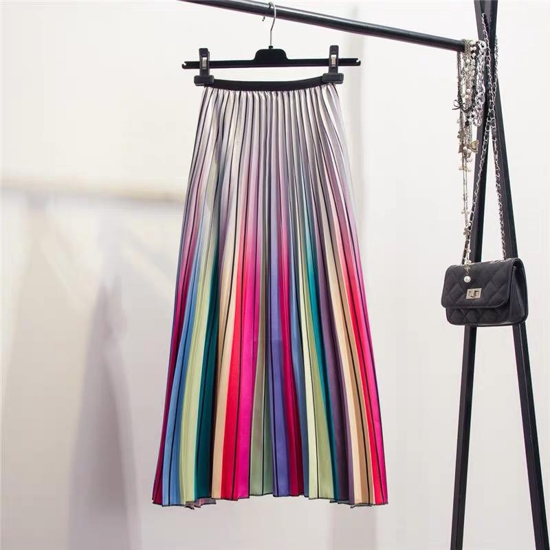 Rainbow Pleated High Waist Skirt