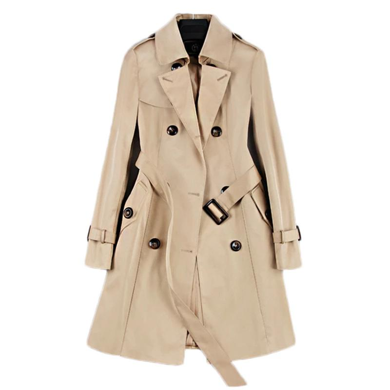 Double Breasted Mid-Thigh Trench Coat