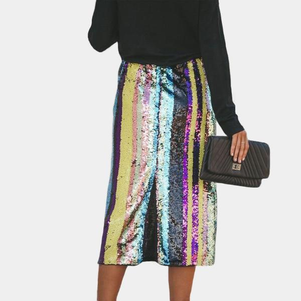 Sequin Midi Skirt Chic Rainbow Striped