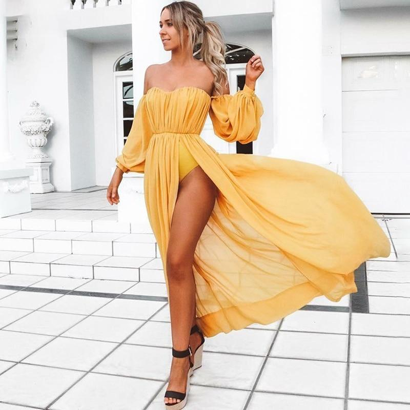 Yellow Off Shoulder Chiffon Maxi Dress - Long Sleeve