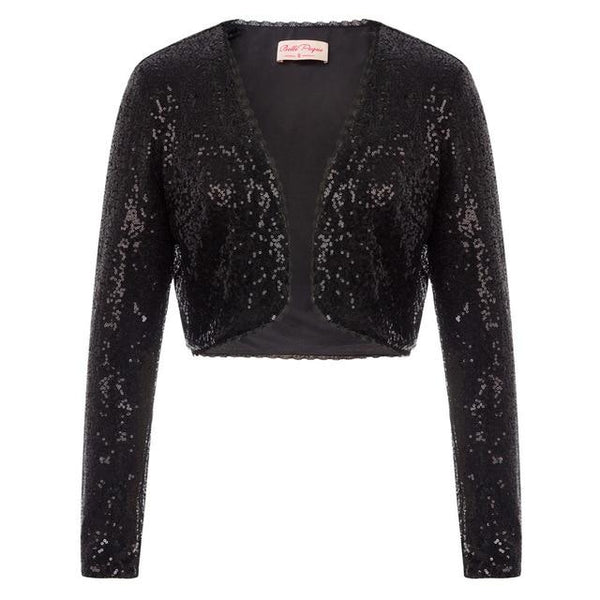 Sequin Shrug - Open Front Crop Jacket
