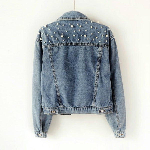 Spring Pearl Denim Crop Jacket