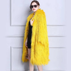 Yellow Shaggy Faux Fur Winter Coat - Long