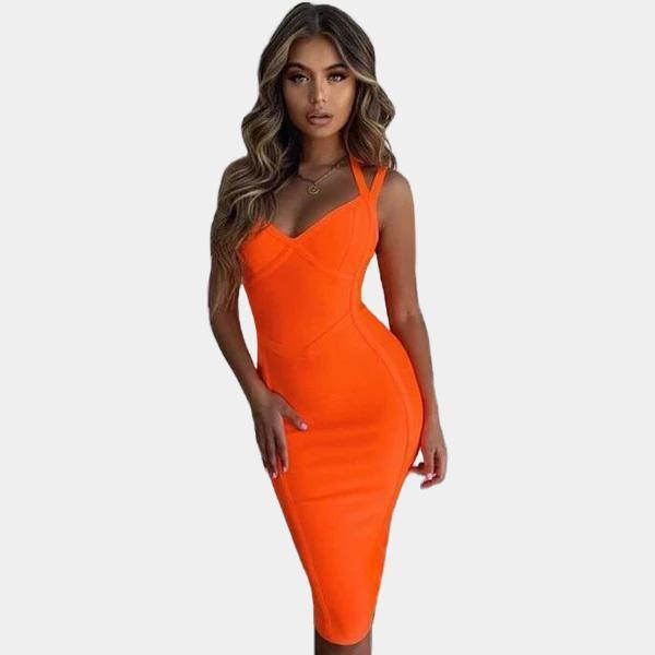 Bandage Dress - Midi Halterneck
