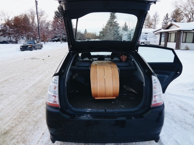 Family Toboggan in a Prius!