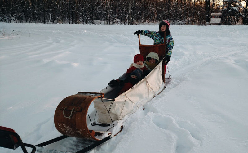 custom wooden sled with canvas for snowmobile tow