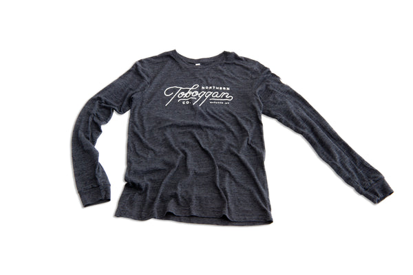 Long Sleeved Toboggan Tee - Charcoal w/ Script and Paw Logos