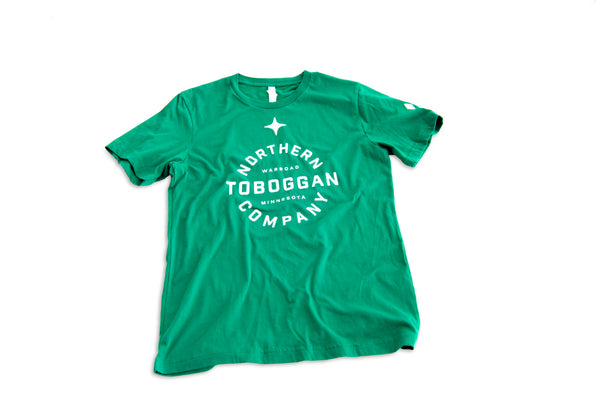 Toboggan Tee - Green w/ North Star and Paw logos