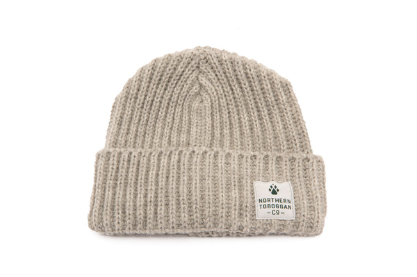 Merino Wool Blend Toboggan Hat - Cool Grey