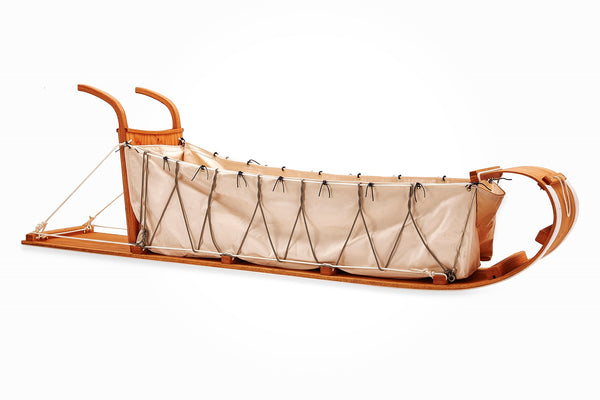 solid oak toboggan with canvas and backboard