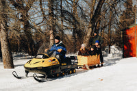 pull-behind wooden box-freight sled for snowmobile