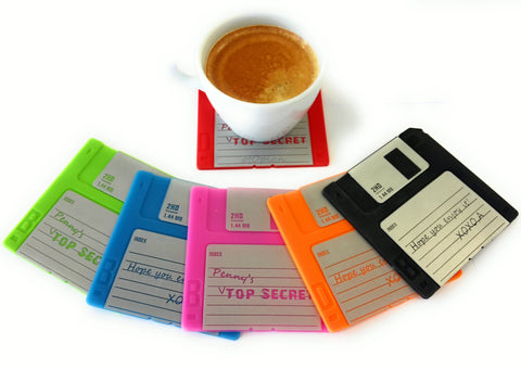 Colorful floppy disc coasters