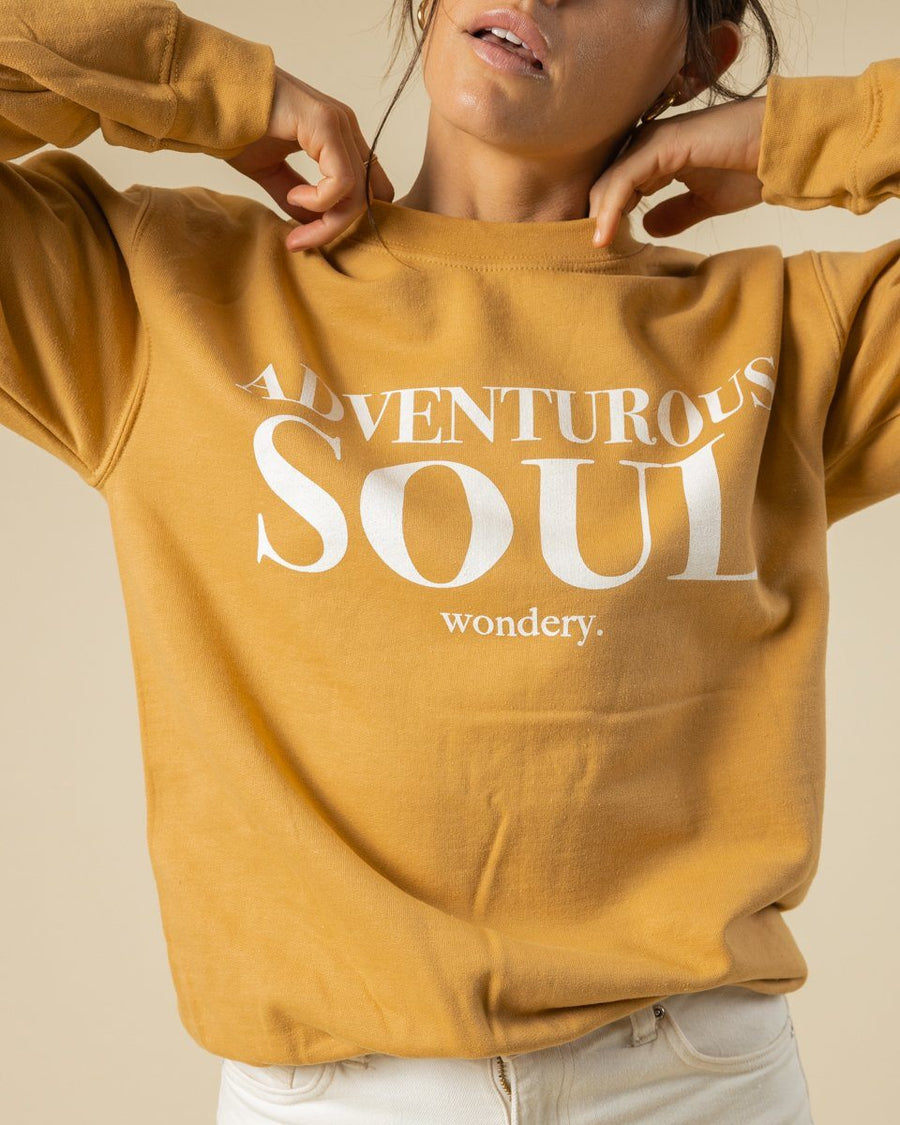 Adventurous Soul Crewneck - Old Gold - Wondery, A Parks Apparel Brand
