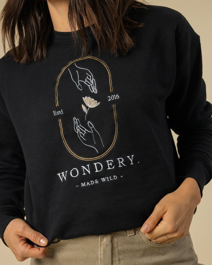 Nature In Your Hands Embroidered Crewneck - Wondery, A Parks Apparel Brand