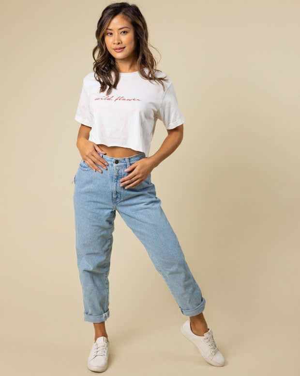 Wild Flower Embroidered Cropped Tee 1