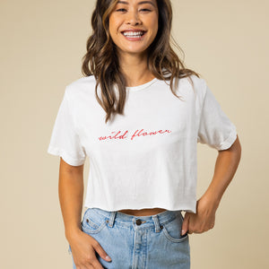 Wild Flower Embroidered Cropped Tee