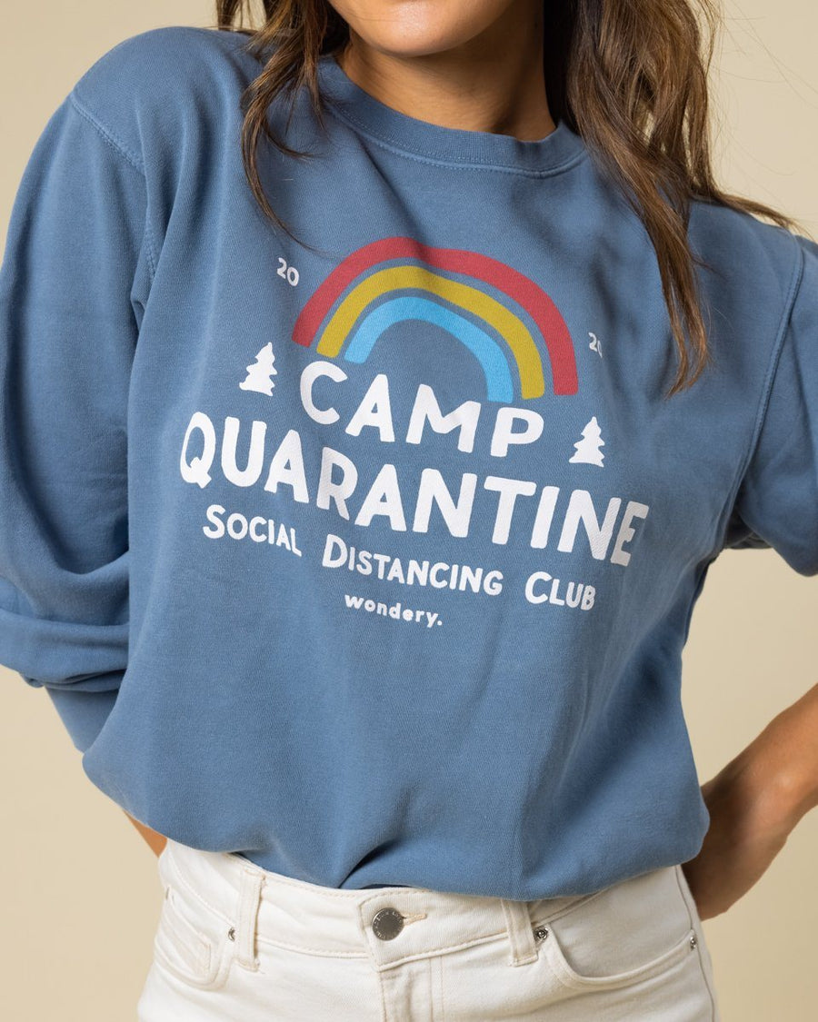 Limited Edition Camp Quarantine Vintage Sky Crewneck - Wondery, A Parks Apparel Brand