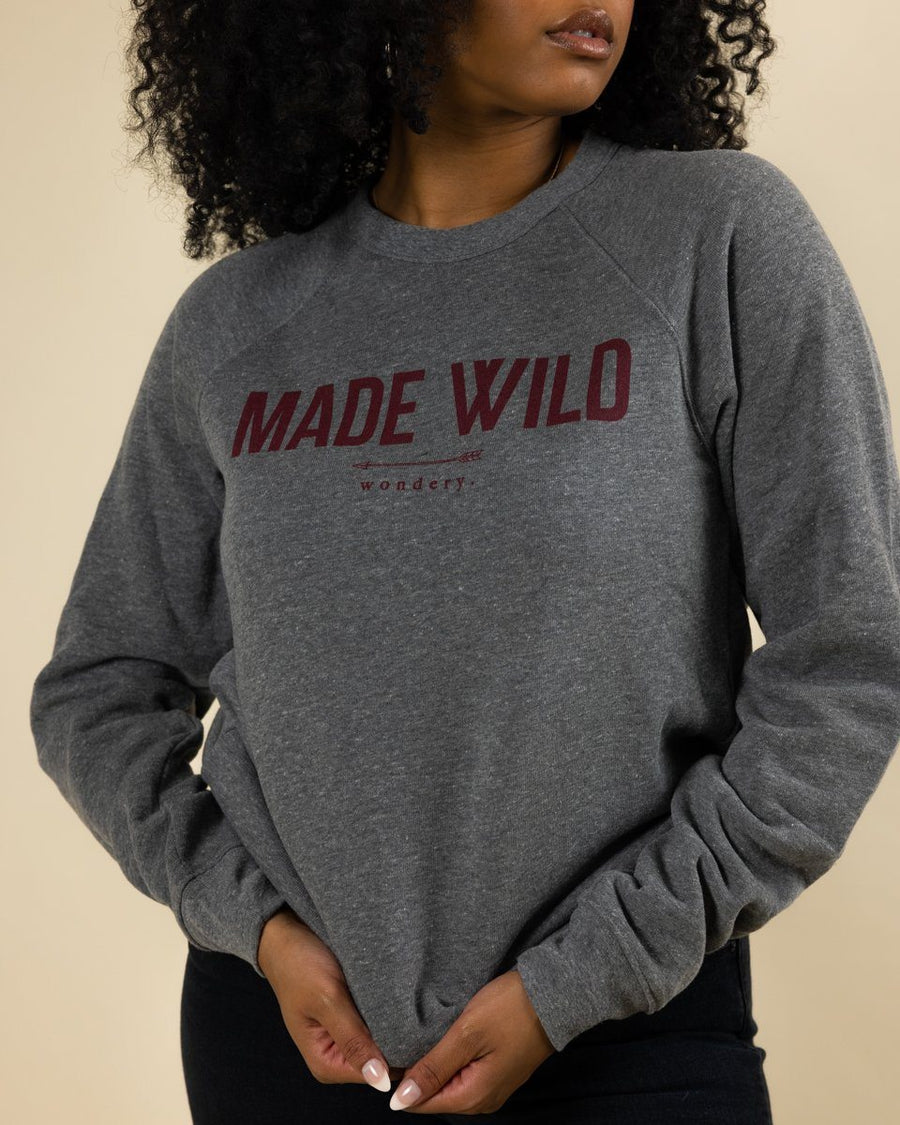 Made Wild Sponge Fleece Raglan Sweatshirt - Heather Gray - Wondery, A Parks Apparel Brand