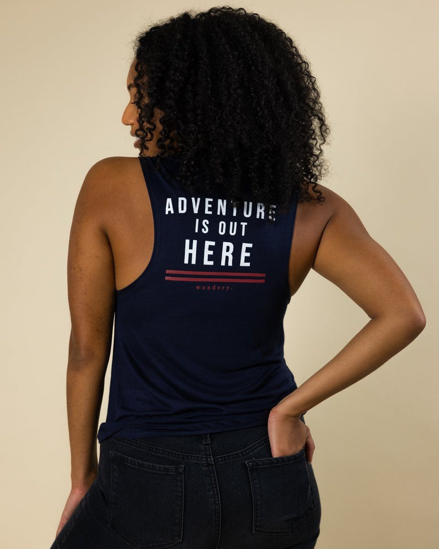 Adventure is Out Here Muscle Tank - Wondery, A Parks Apparel Brand