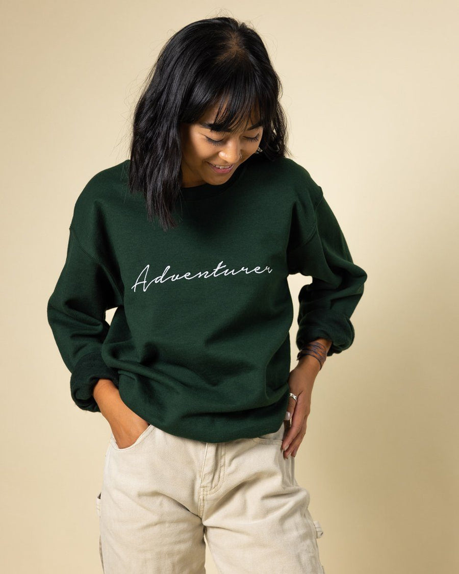 Adventurer Crewneck | Green - Wondery, A Parks Apparel Brand