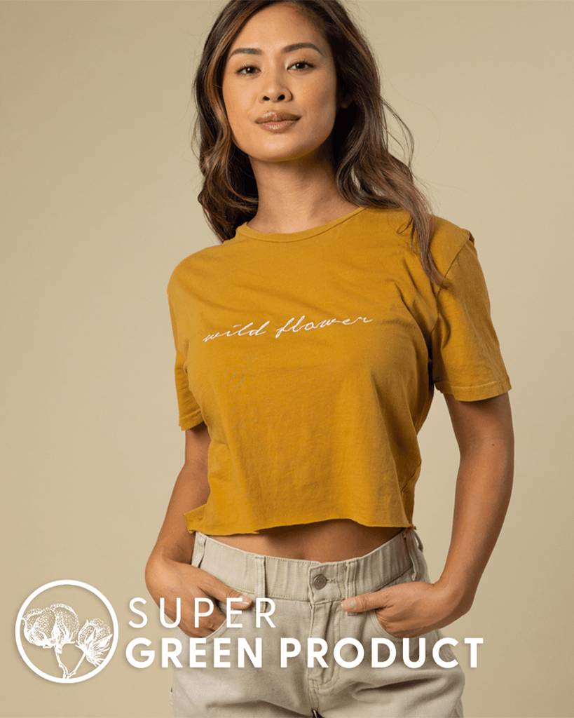 Wild Flower Embroidered Crop Tee in Honey - Wondery