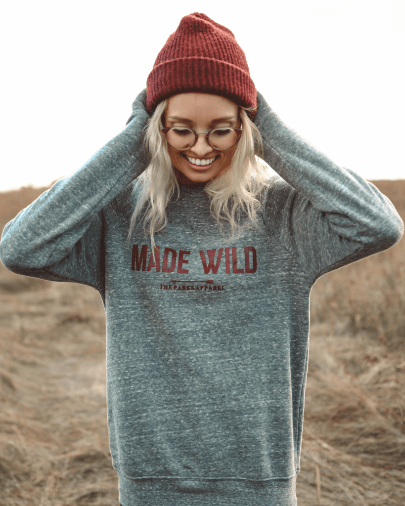 Made Wild Sponge Fleece Raglan Sweatshirt - Heather Gray - Wondery
