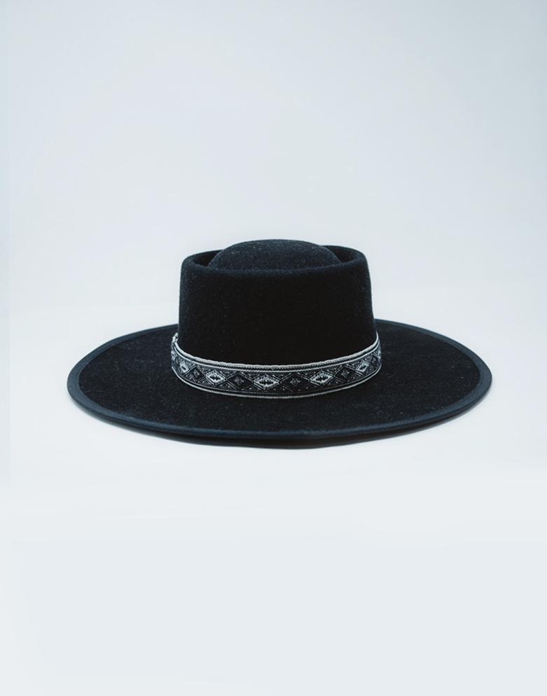 The Connie Wide Brim Hat - Raven - Wondery, A Parks Apparel Brand