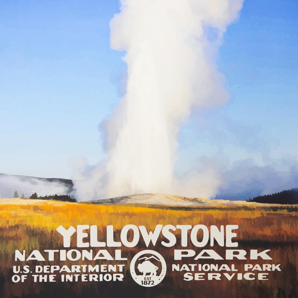 Retro Yellowstone NP Poster - Wondery