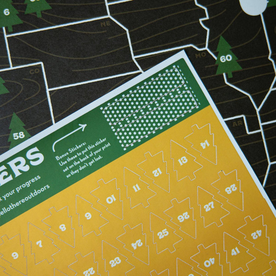18x24 National Park Offset Poster Map w/ Tree Stickers - Wondery, A Parks Apparel Brand