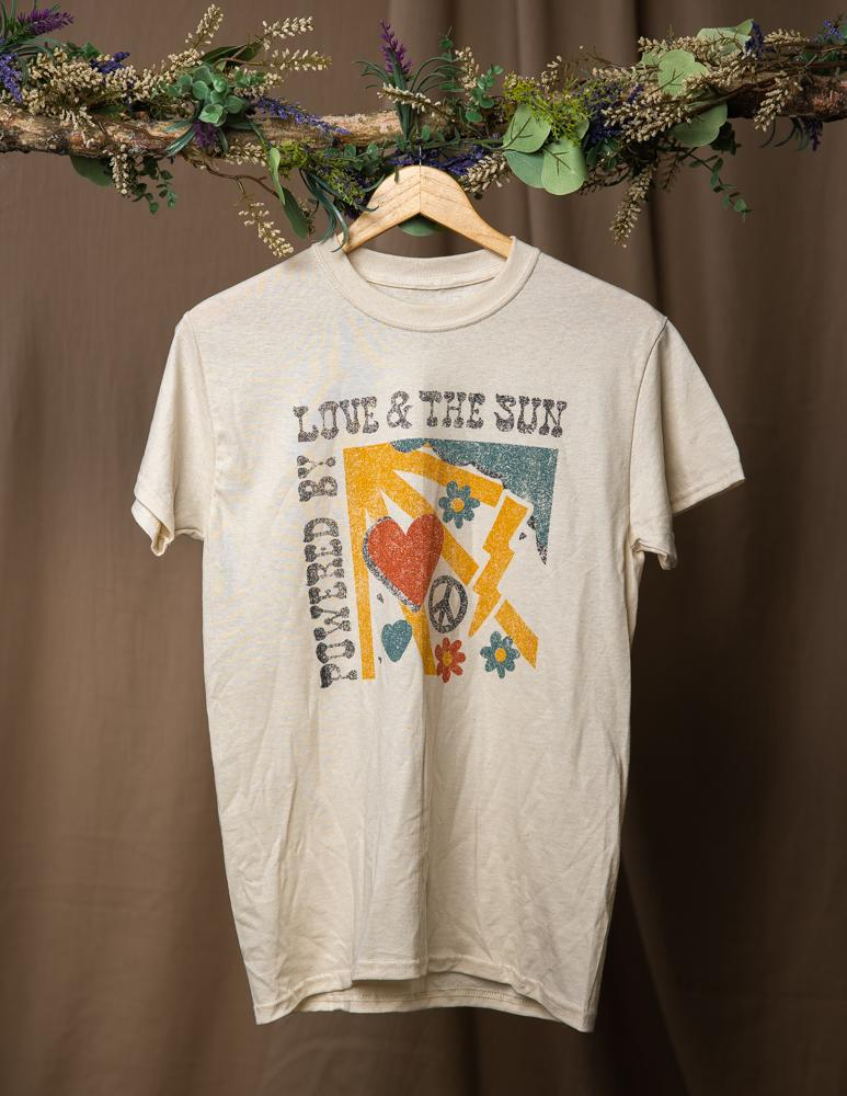 Powered by Sun & Love Tee | Cream - Wondery