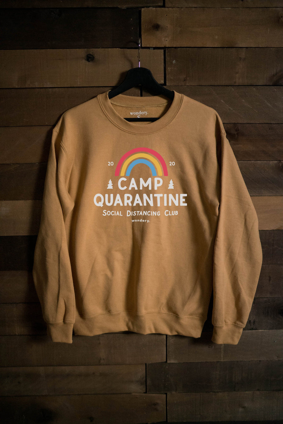 Limited Edition Camp Quarantine Warm Gold Crewneck - Wondery, A Parks Apparel Brand