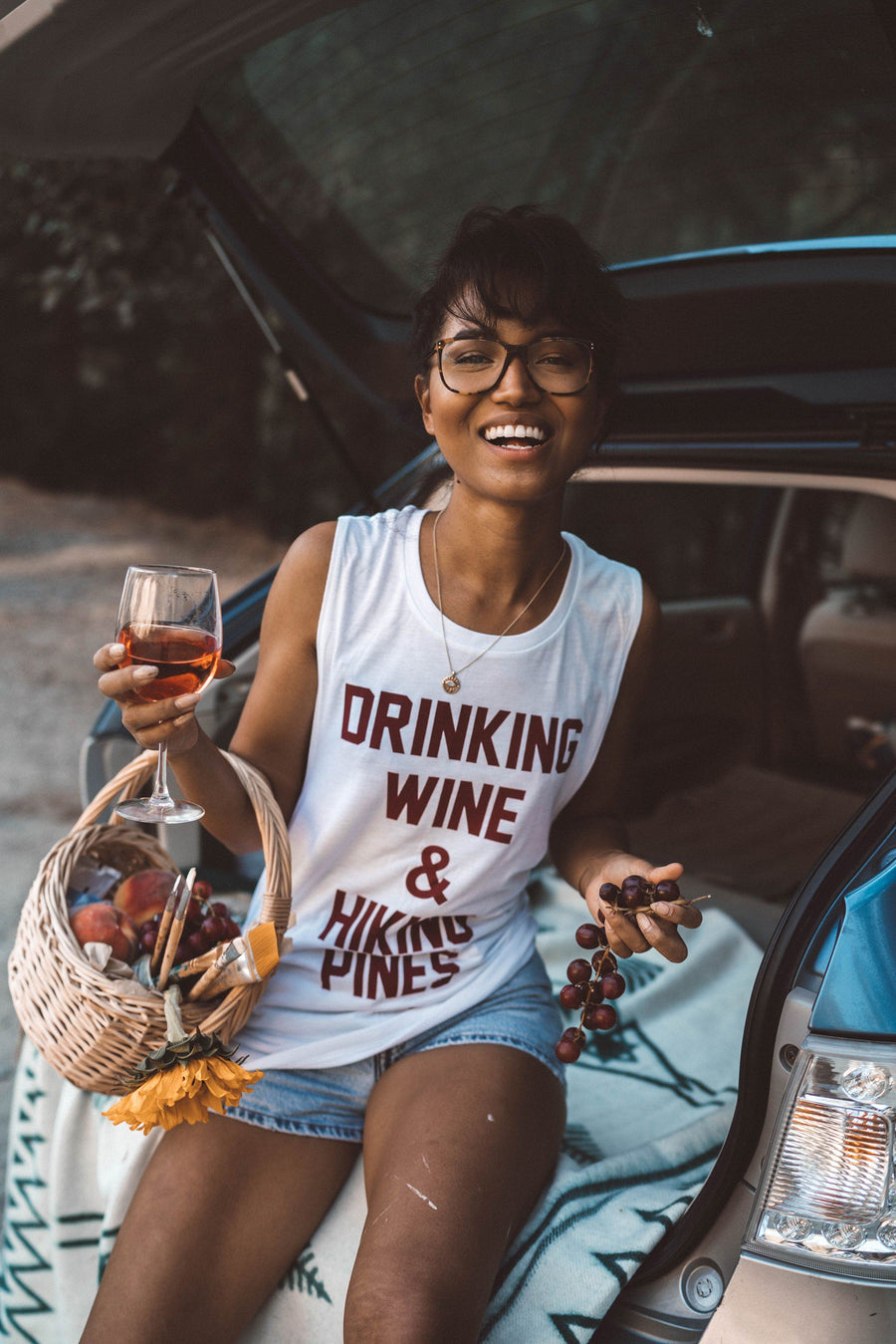 White Drinking Wine Women's Muscle Tank - Wondery, A Parks Apparel Brand