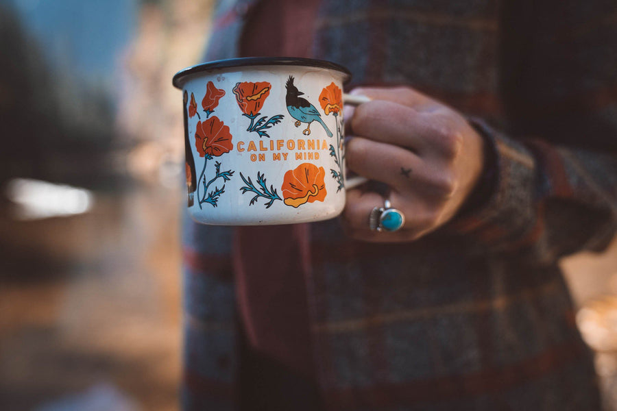 California On My Mind Enamel Mug - Wondery, A Parks Apparel Brand