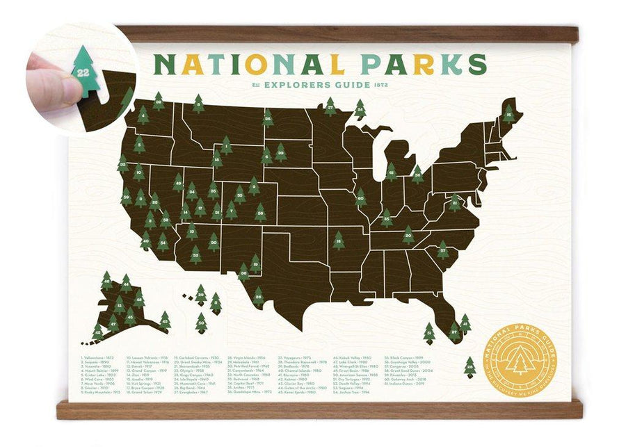 18x24 National Park Offset Map - Wondery