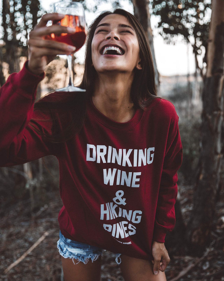 Drinking Wine Crewneck Sweater - Wondery, A Parks Apparel Brand