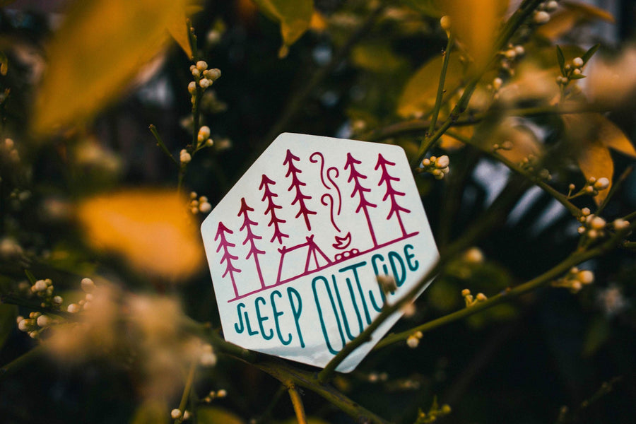 Sleep Outside Camping Sticker - Wondery, A Parks Apparel Brand
