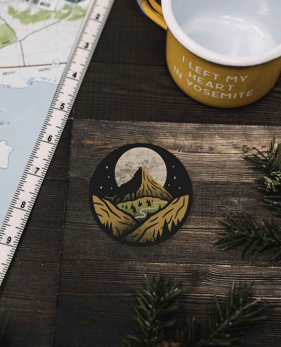 Mountain and Moon Sticker - Wondery, A Parks Apparel Brand