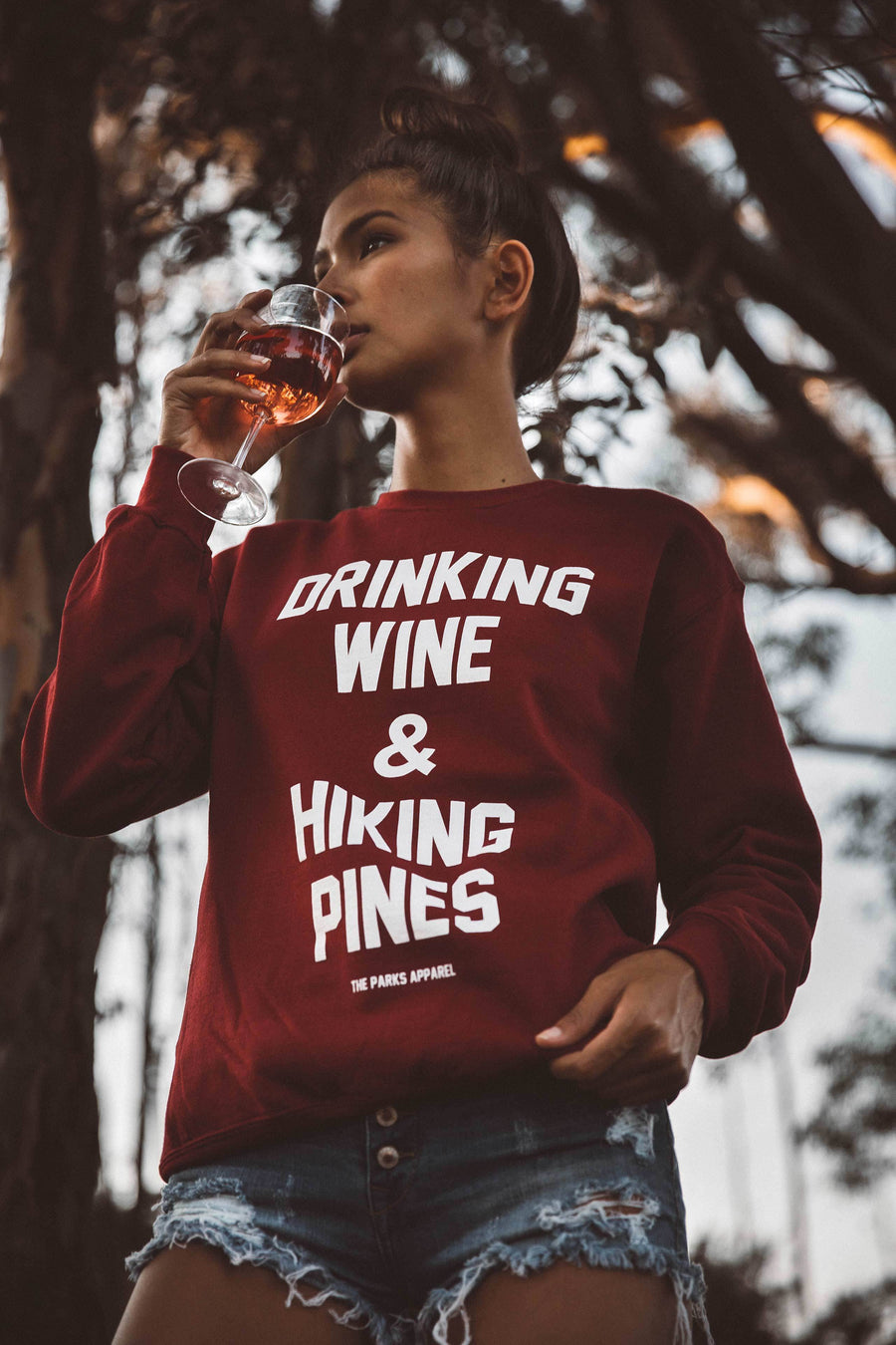 Drinking Wine Crewneck - Wondery, A Parks Apparel Brand