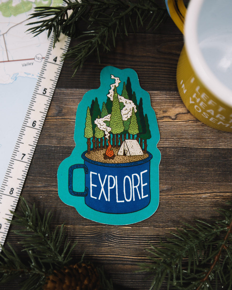 Camp Cup Explore Sticker - Wondery, A Parks Apparel Brand