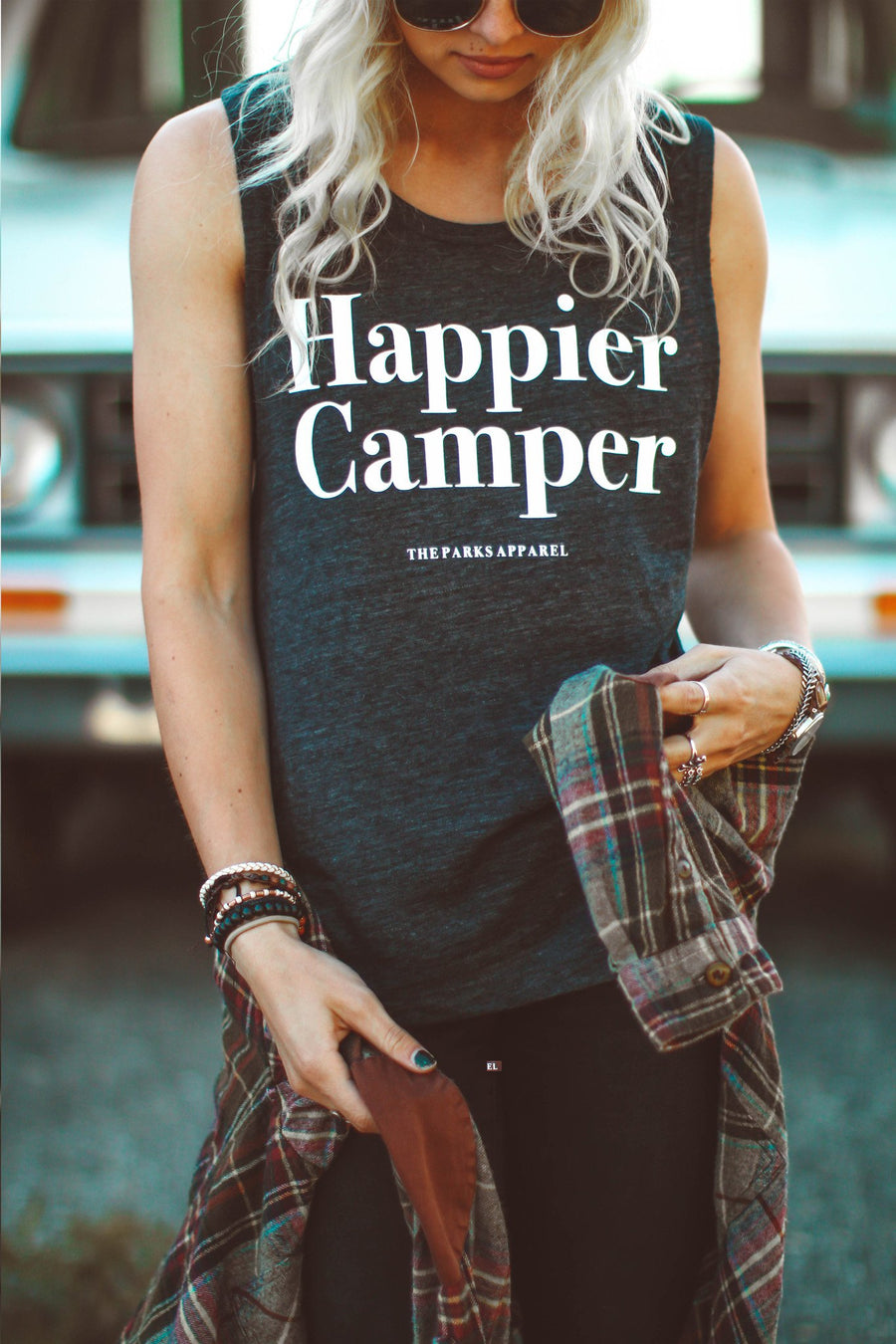 Happier Camper Muscle Tank - Dark Heather - Wondery, A Parks Apparel Brand