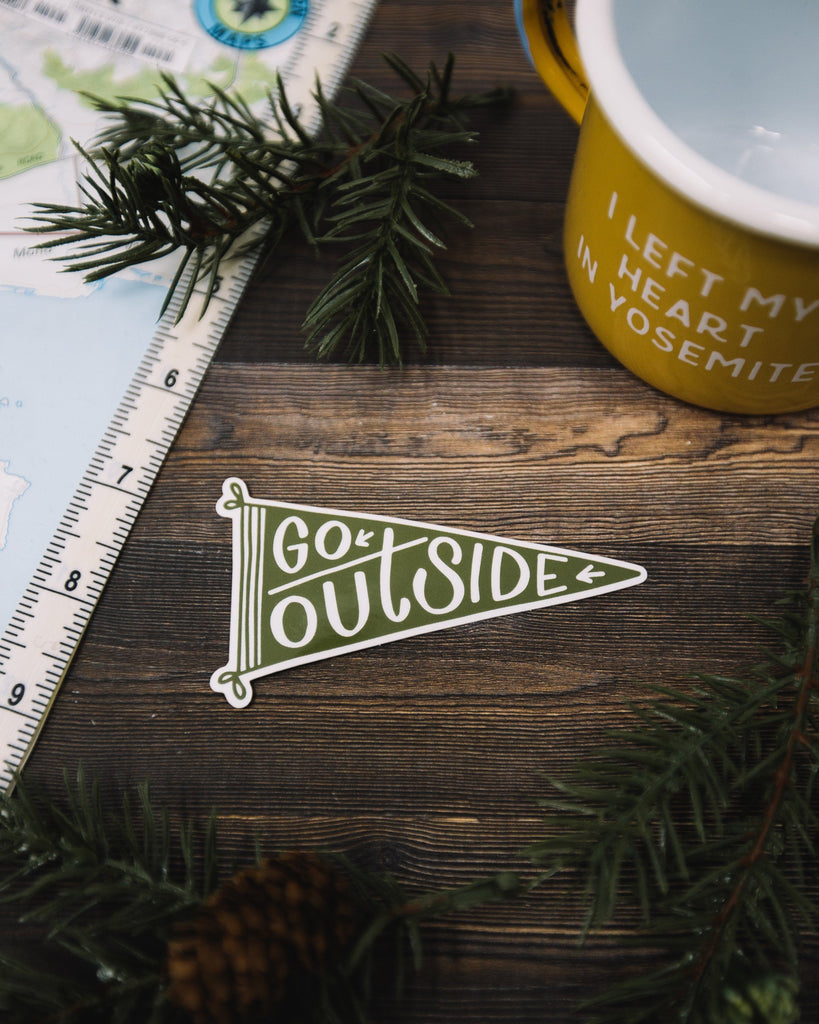 Go Outside Pennant Sticker - Wondery
