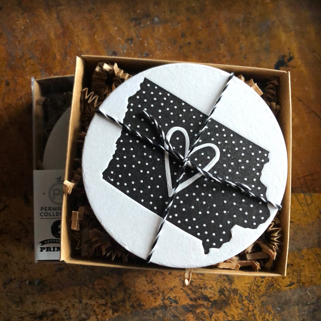 Polka Dot Iowa Coaster, black