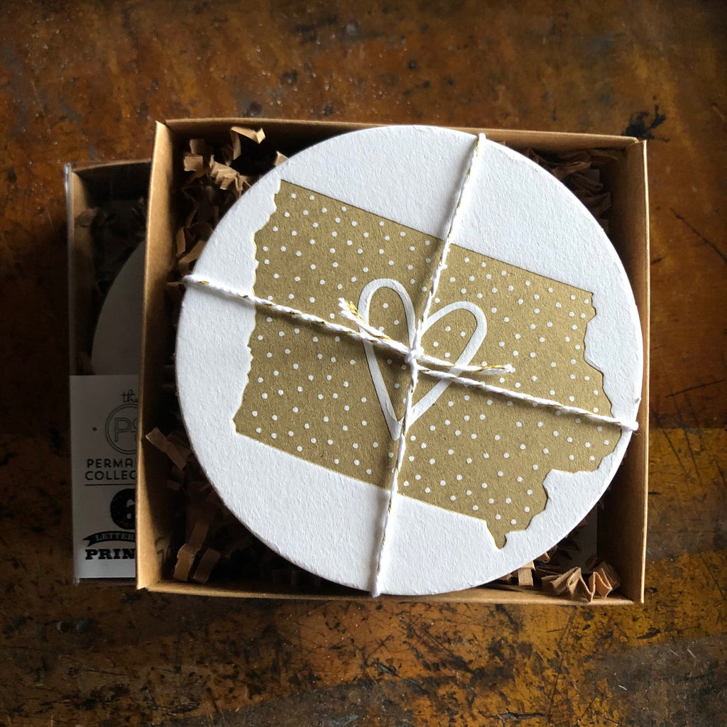 Polka Dot Iowa Coaster, gold